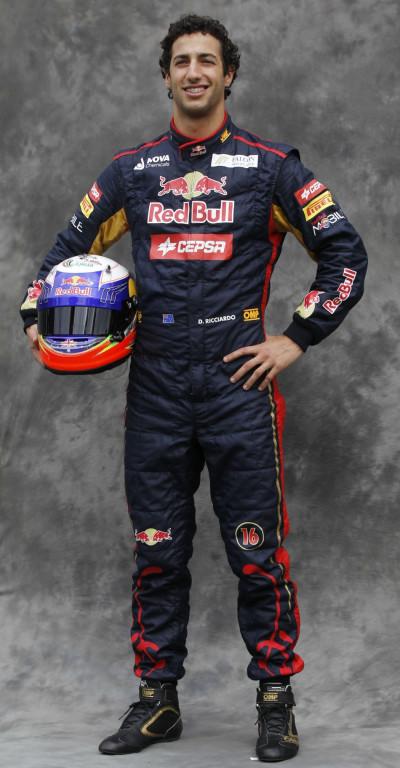 Toro Rosso Formula One driver Ricciardo poses prior to the Australian F1 Grand Prix at the Albert Park circuit in Melbourne