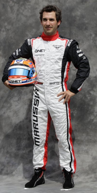 Marussia Formula One driver Glock poses prior to the Australian F1 Grand Prix at the Albert Park circuit in Melbourne