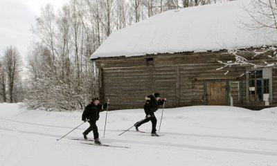 School boys ski in the remote Russian village of Bolshie Khutora