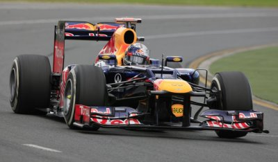 Red Bull Formula One driver Vettel drives during the first practice session of the Australian F1 Grand Prix at the Albert Park circuit in Melbourne