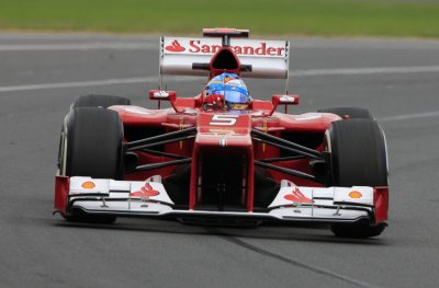 Ferrari Formula One driver Alonso drives during the first practice session of the Australian F1 Grand Prix at the Albert Park circuit in Melbourne