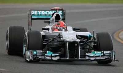 Mercedes Formula One driver Schumacher drives during the first practice session of the Australian F1 Grand Prix at the Albert Park circuit in Melbourne