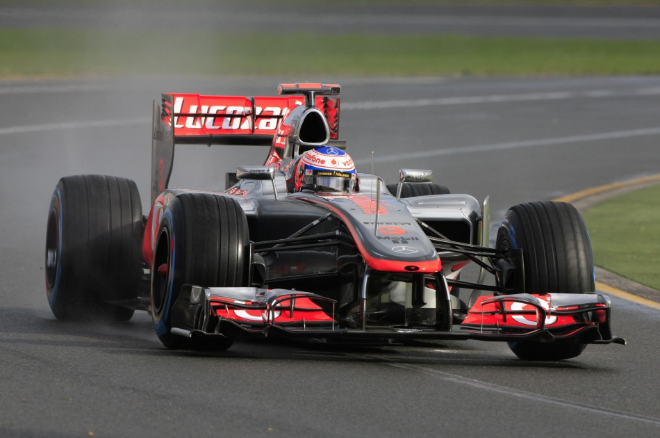 McLaren Formula One driver Button drives during the second practice session of the Australian F1 Grand Prix at the Albert Park circuit in Melbourne