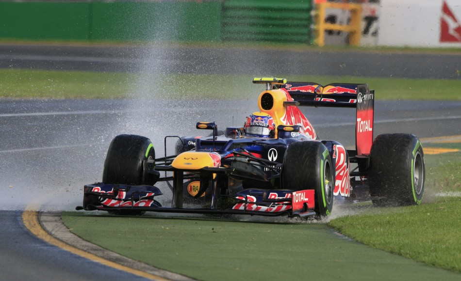 Red Bull Formula One driver Webber drives on the grass during the second practice session of the Australian F1 Grand Prix at the Albert Park circuit in Melbourne