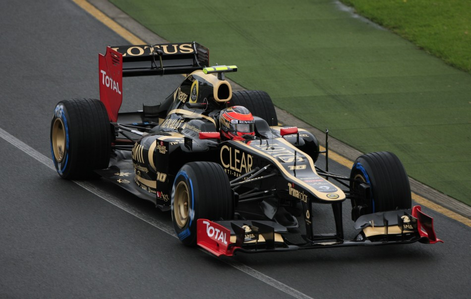 Lotus F1 Formula One driver Grosjean drives during the second practice session of the Australian F1 Grand Prix at the Albert Park circuit in Melbourne