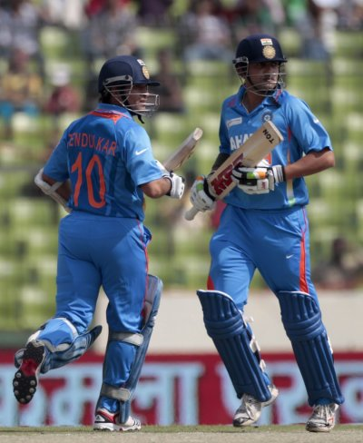 India039s Gautam Gambhir and Sachin Tendulkar run between the wickets against Bangladesh during their One Day International ODI cricket match of Asia Cup in Dhaka.