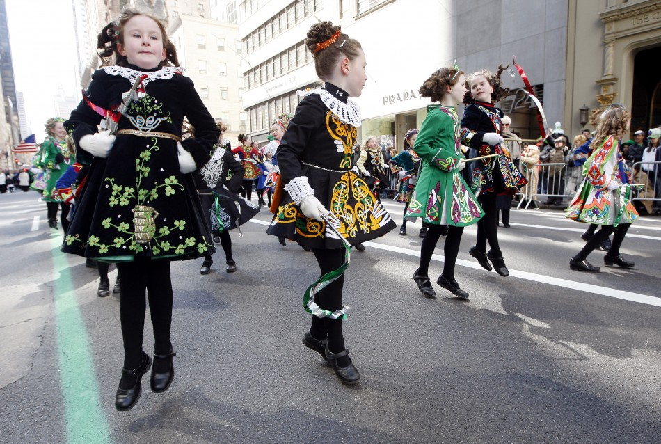 Irish step dancers participate in the Saint Patrick's day parade on Fifth Avenue, in New York