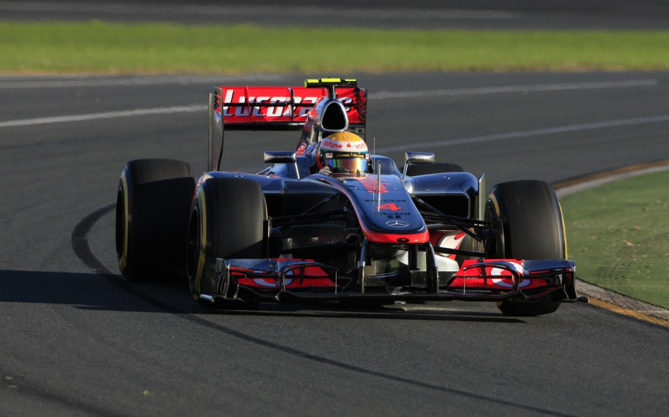 McLaren Formula One driver Hamilton drives during the qualifying session of the Australian F1 Grand Prix at the Albert Park circuit in Melbourne