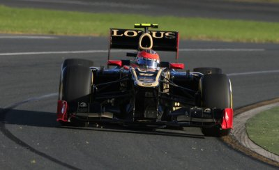 Lotus F1 Formula One driver Grosjean drives during the qualifying session of the Australian F1 Grand Prix at the Albert Park circuit in Melbourne