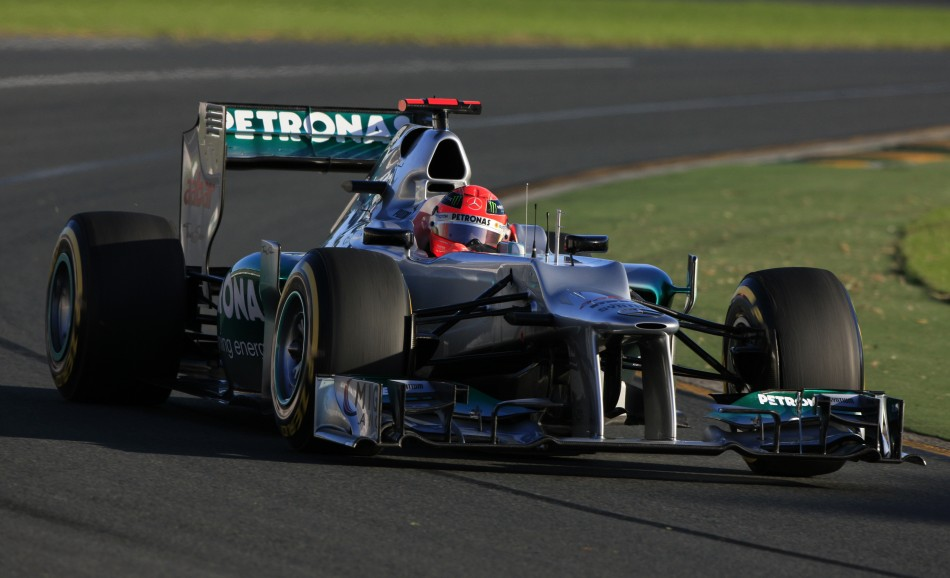Mercedes Formula One driver Schumacher drives during the qualifying session of the Australian F1 Grand Prix at the Albert Park circuit in Melbourne