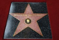 The star of British actor Malcolm McDowell is pictured after it was unveiled on the Walk of Fame in Hollywood