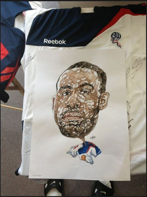 An tee print of  Fabrice Muamba posted by him on Social Networking site