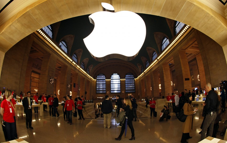 The Apple logo inside the newest Apple Store in New York Citys Grand Central Station