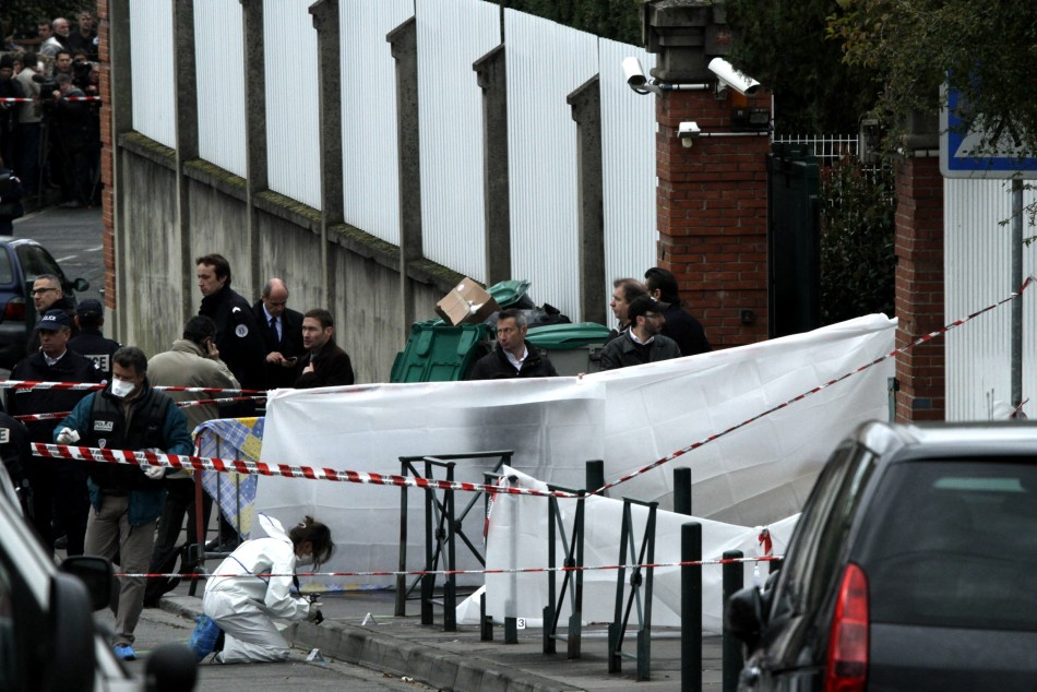 French police inspect outside the Ozar Hatora  Jewish school in Toulouse, southwestern France