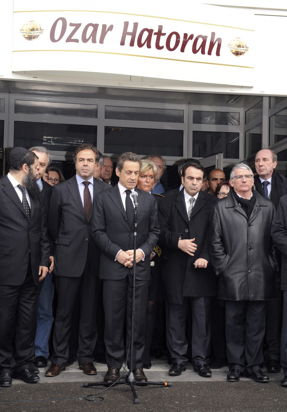 "Nicolas Sarkozy, France's President delivers a speech in front of the ""Ozar Hatorah"" Jewish school"