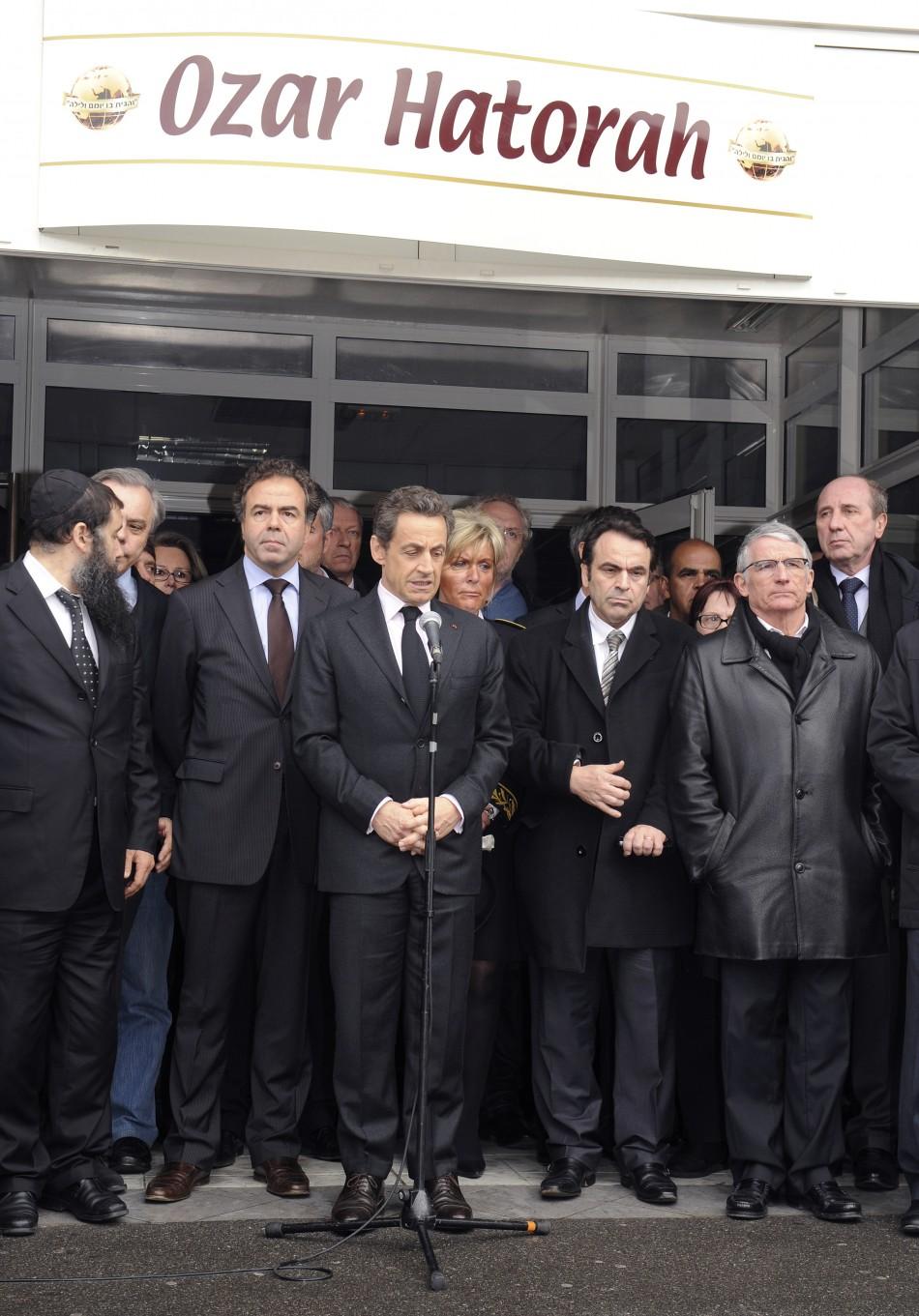Nicolas Sarkozy, Frances President delivers a speech in front of the quotOzar Hatorahquot Jewish school