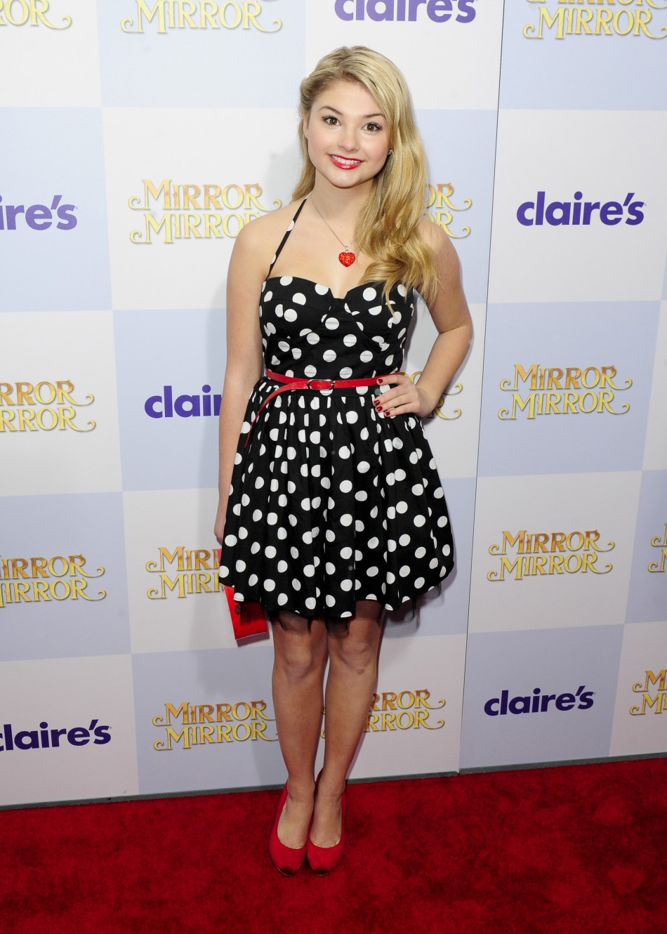Actress Stefanie Scott arrives at the Hollywood world premiere of quotMirror Mirrorquot in Los Angeles, California