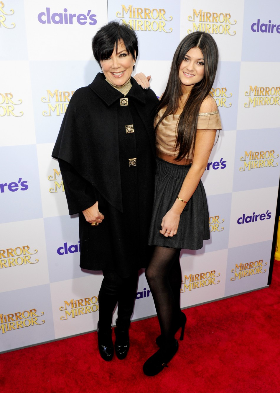 "Television personalities Kris Jenner (L) and daughter Kylie Jenner arrive at the Hollywood world premiere of ""Mirror Mirror"" in Los Angeles"