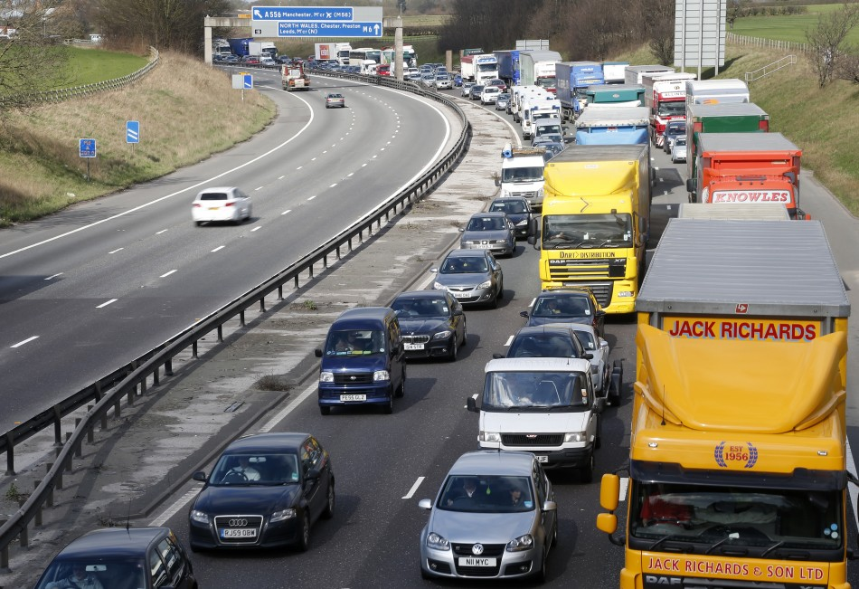 Traffic queues on the M6 motorway near Manchester, northern England