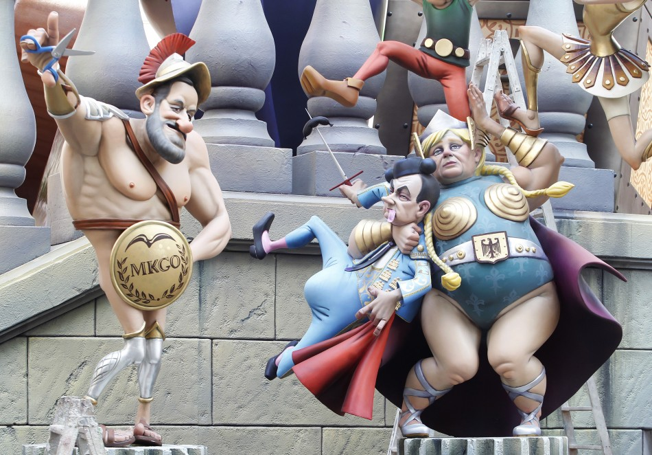 Figures of Spanish Prime Minister Rajoy, German Chancellor Merkel and French President Sarkozy are pictured ahead of the quotFallasquot festival in Valencia