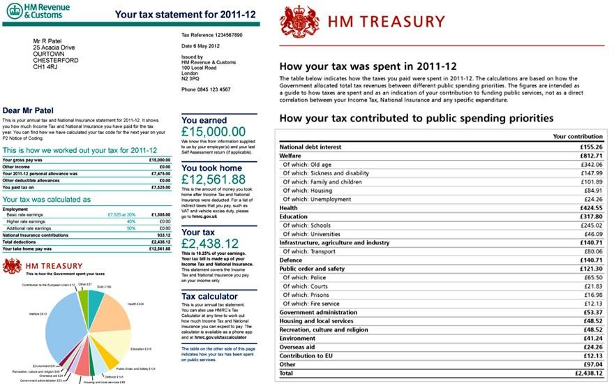 Handout image issued by the HM Treasury office of a mock-up of a new style of personal tax statement (HM Treasury/PA)