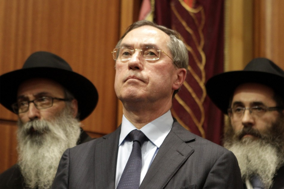 Claude Gueant attends a ceremony in Toulouse's synagogue