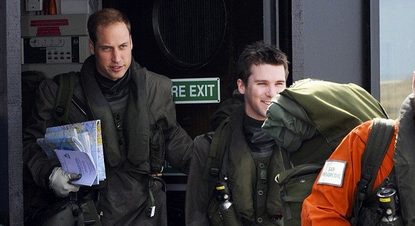 Prince William prepares for his first sortie with crew members at the Mount Pleasant Complex on the Falkland Islands (Reuters)