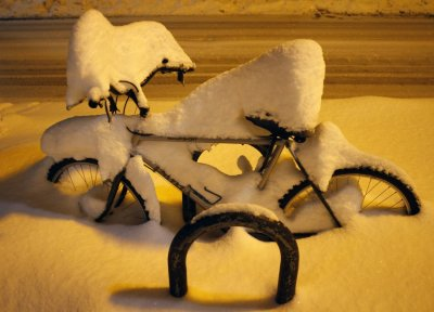 Several inches of snow cover a bicycle in Flagstaff