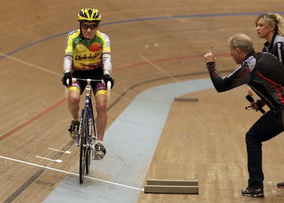 Cyclist Robert Marchand creates world record