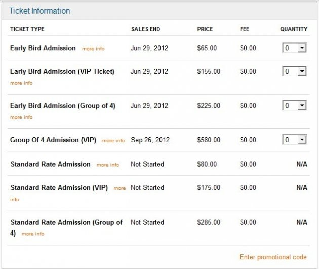 Ticket information with prices