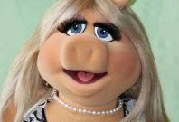 Muppets character Miss Piggy is pictured at ceremonies honoring the Muppets with a star on the Hollywood Walk of Fame in Hollywood