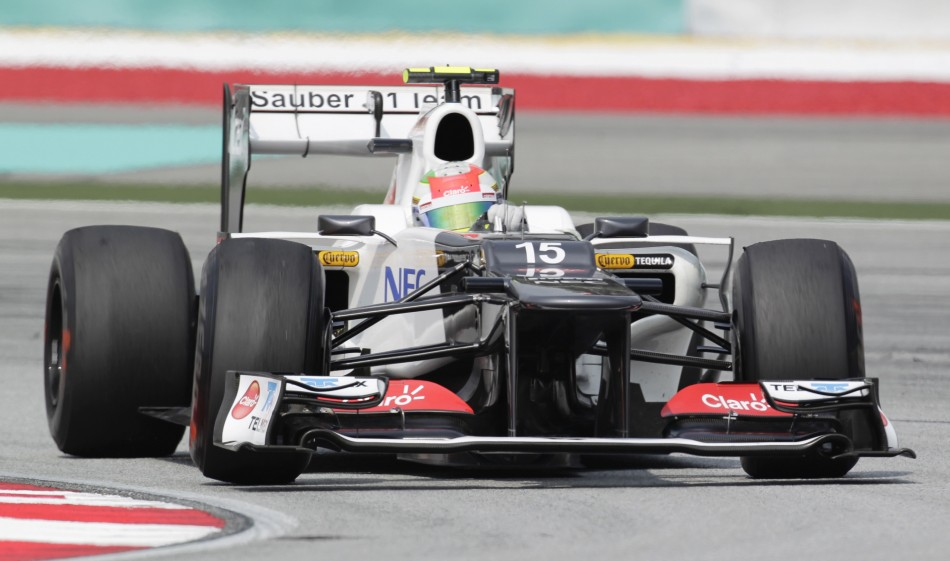 Sauber F1 driver Perez of Mexico takes a corner during the first practice session of the Malaysian F1 Grand Prix in Sepang