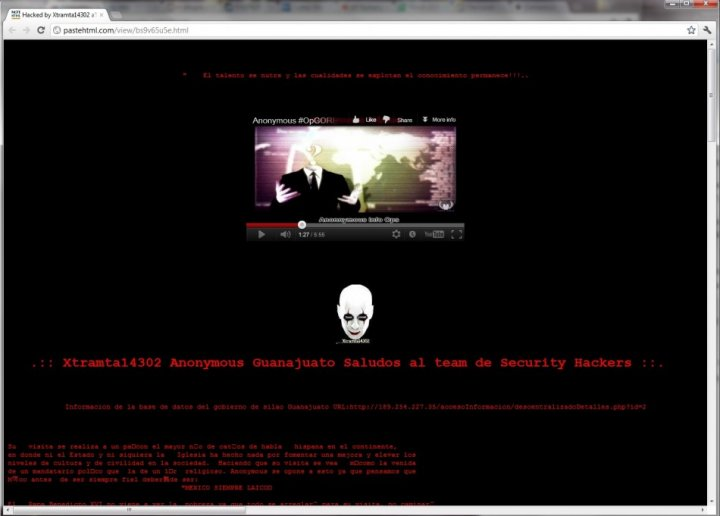 The homepage of one of the hacked website on Pastehtml
