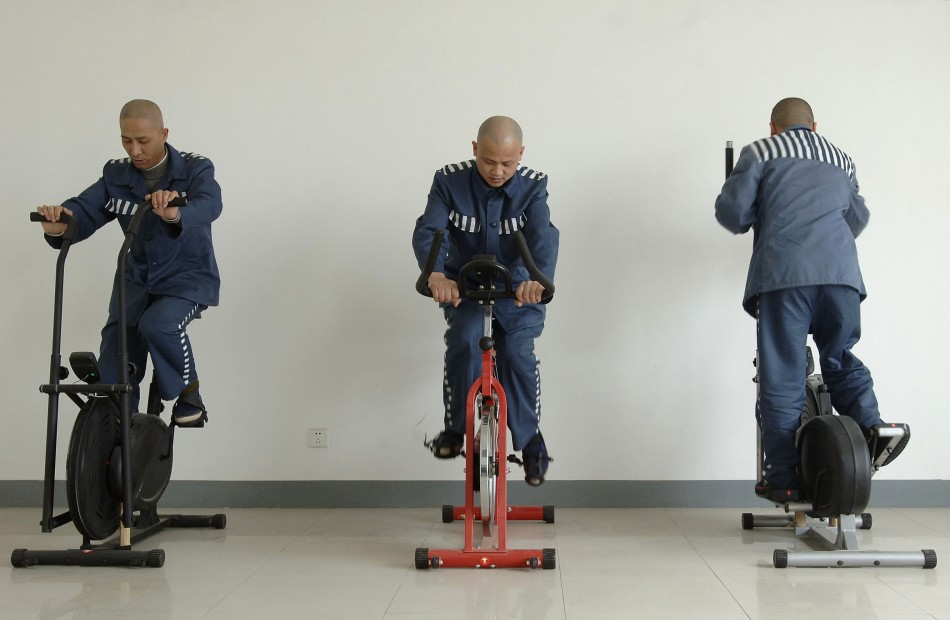 Prison inmates exercise at the Baihu prison in Chaohu