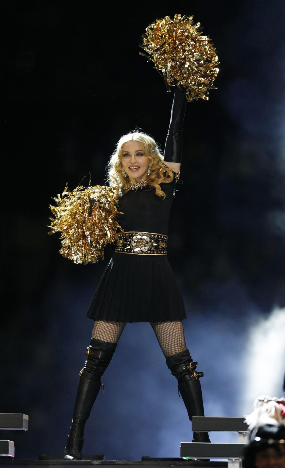 Madonna performing at the NFL Super Bowl