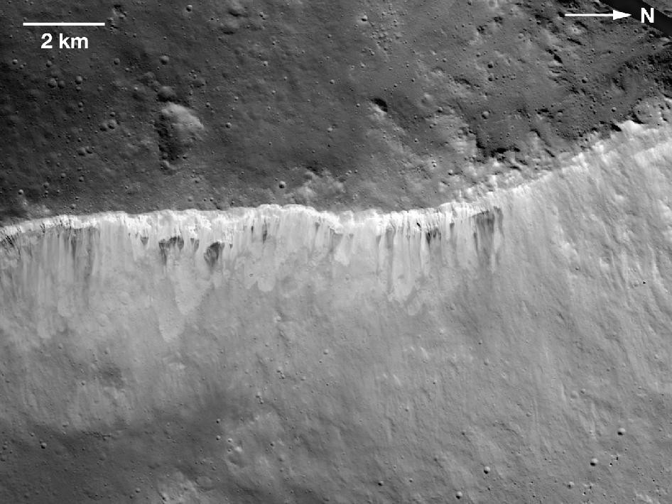 Bright and Dark at West Rim of Marcia Crater