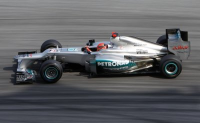 Mercedes Formula One driver Schumacher drives during the qualifying session of the Malaysian F1 Grand Prix at Sepang International Circuit outside Kuala Lumpur
