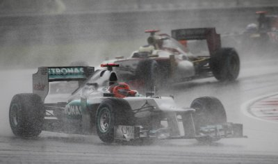 Mercedes Formula One driver Schumacher drives during the Malaysian F1 Grand Prix at Sepang International Circuit outside Kuala Lumpur