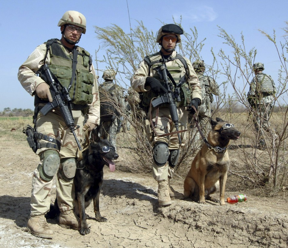 Handout image of United States Air Force Tech Sgt John Mascolo and his dog Ajax