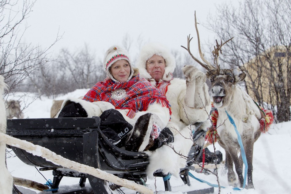 Prince Albert II, Princess Charlene Enjoy a Reindeer Sledge Ride