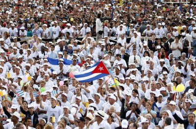 A man waves a Cuban flag
