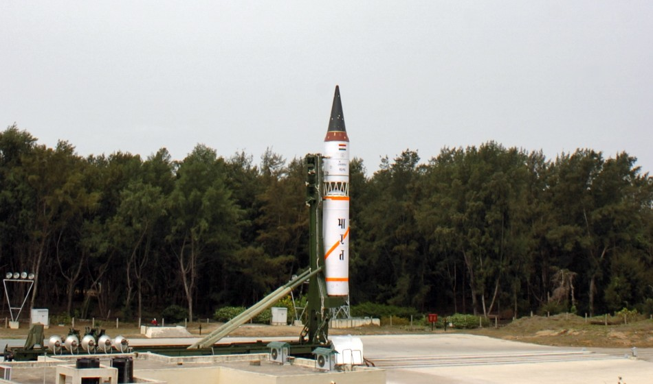 India's nuclear-capable Agni-III missile is seen before its third flight launch system at Wheeler Island