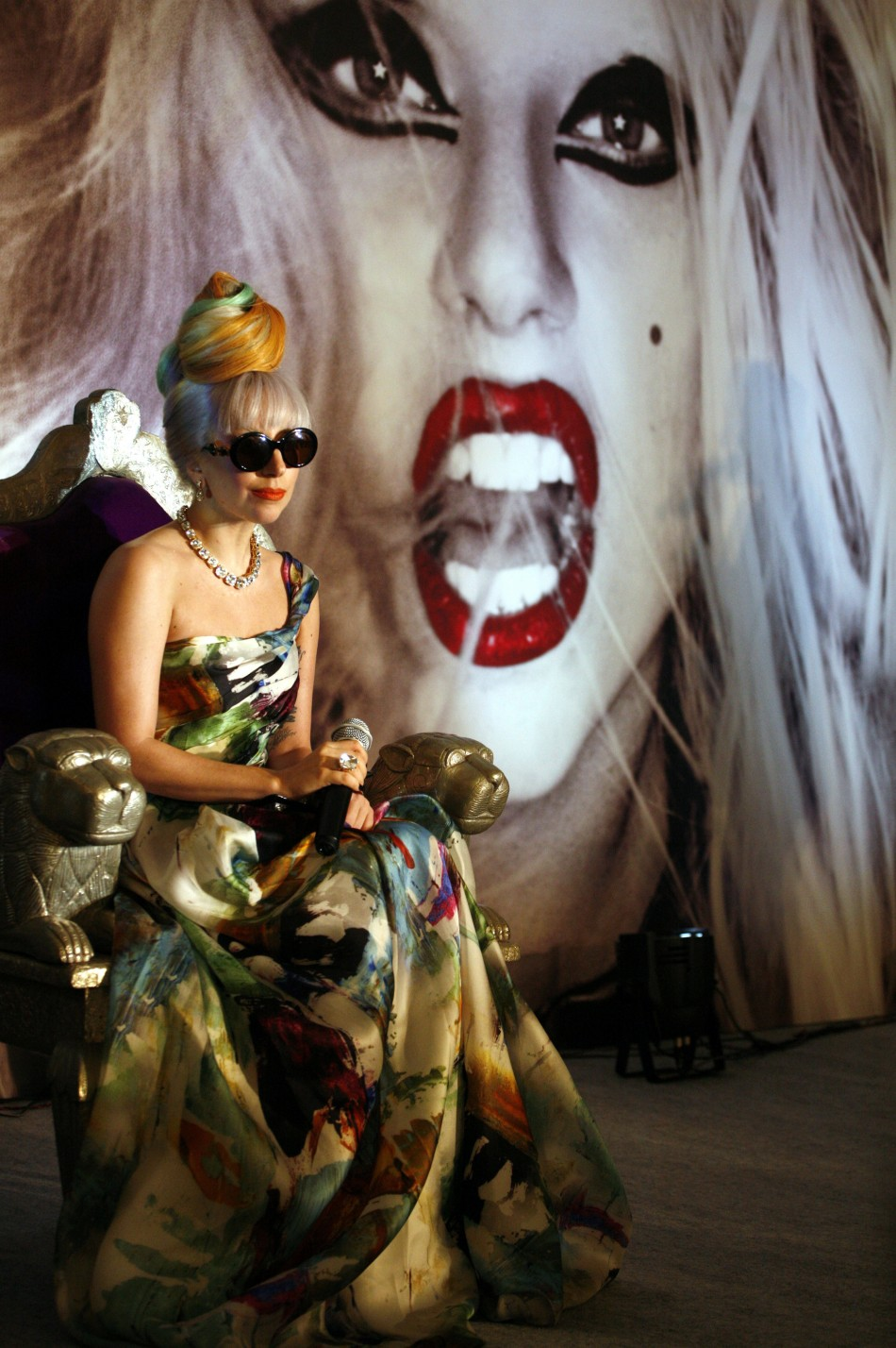 Lady Gaga attends a news conference in New Delhi