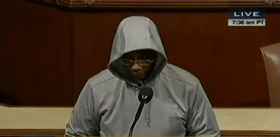 Illinois Congressman Bobby Rush put on a hoodie to discuss racial profiling in the House of Representatives