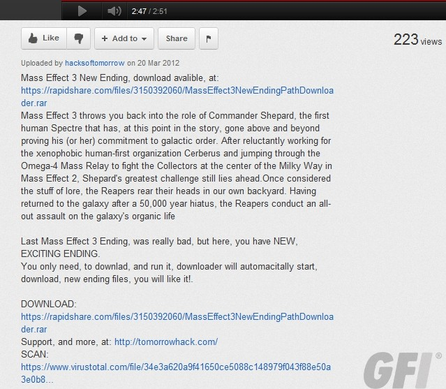 Mass Effect 3 New Ending Download Scam
