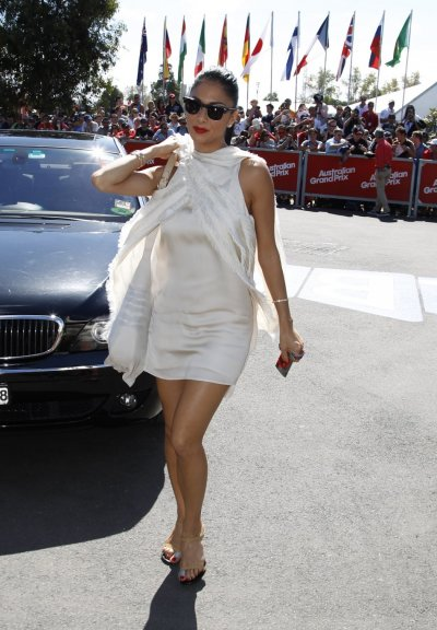 Nicole Scherzinger arrives at the Albert Park circuit before the Australian F1 Grand Prix in Melbourne