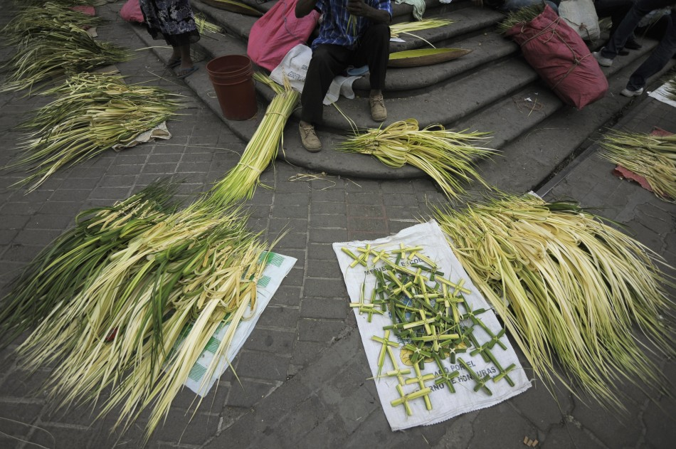 Palm branches for sale are seen outside a church in Tegucigalpa