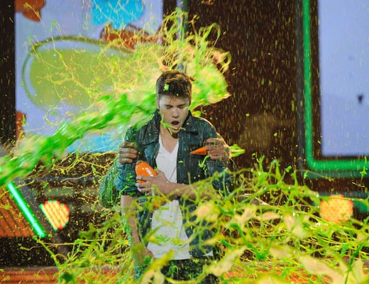 Slime being thrown at Justin Beiber on popular demand