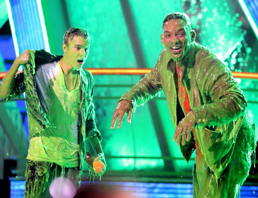 Justin Beiber and Will Smith all slimy
