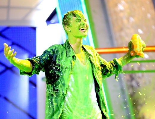 Justin Beiber laughs off his slime